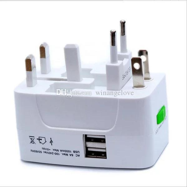 All in One Universal International Dual USB Travel Charger Adapter 2 USB Port World AC Power Adaptor AU US UK EU Plug with Retail Packaging