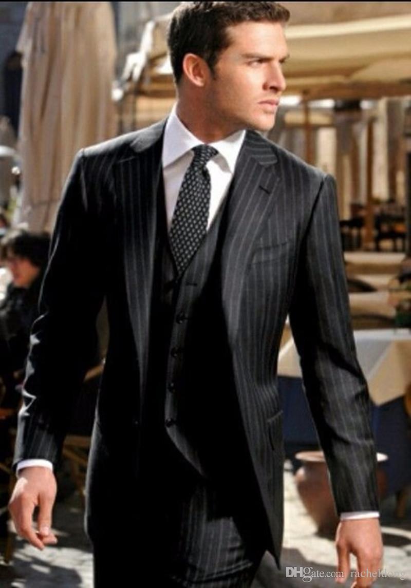 d228e37ce0c9f Satın Al Erkek Siyah Çizgili 3 Parça Takım Elbise Slim Fit 2017 İtalyan  Tasarım Iş Erkekler Resmi Parti Smokin Ofis Iş Takım Elbise Ceket +  Pantolon + Yelek ...