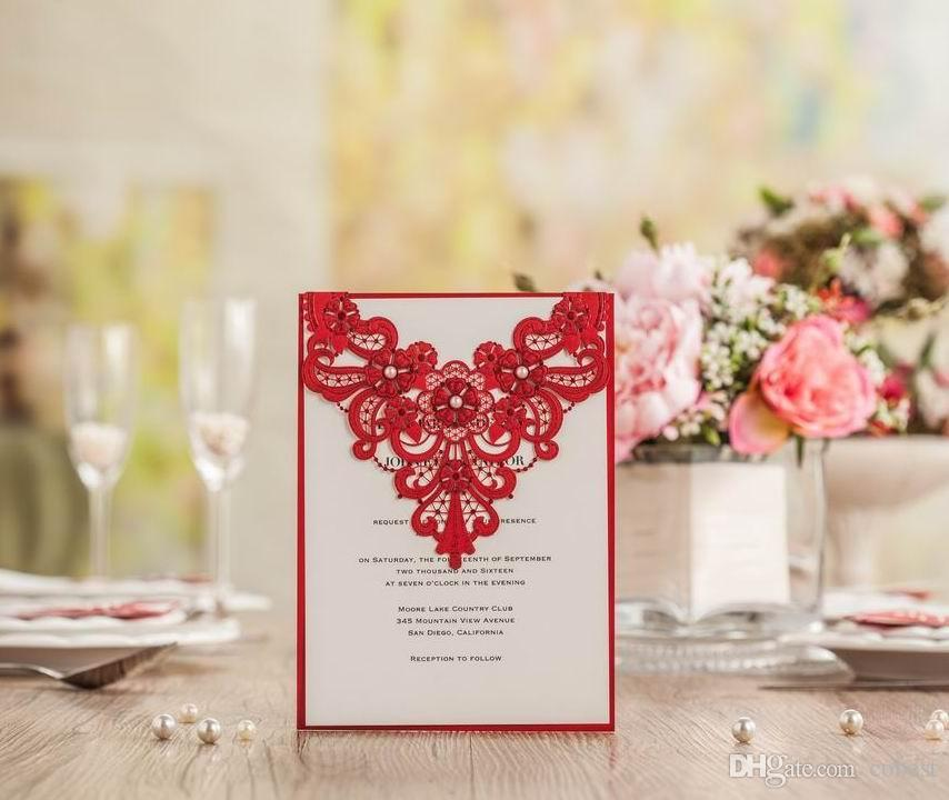 Wedding Invitations Cards Laser Cut Customized Red Invitations Cards