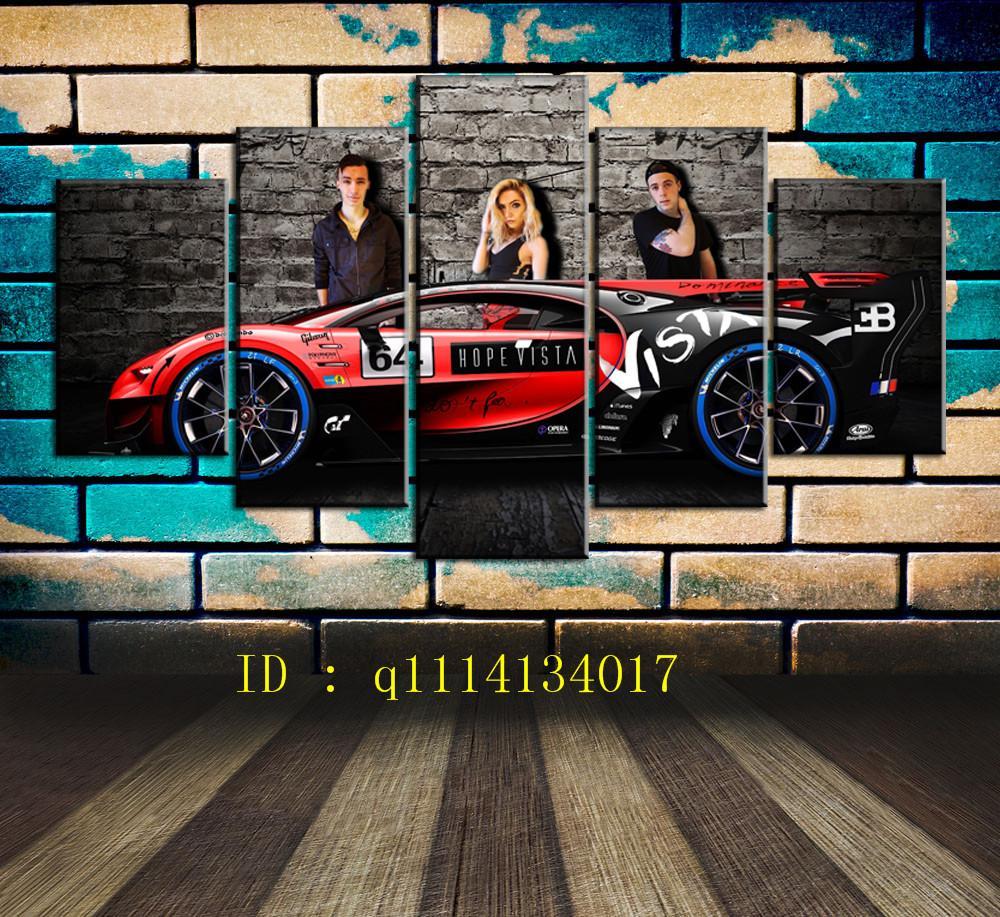 Grosshandel Bugatti Auto 5 Stuck Leinwand Wandkunst Olgemalde Home
