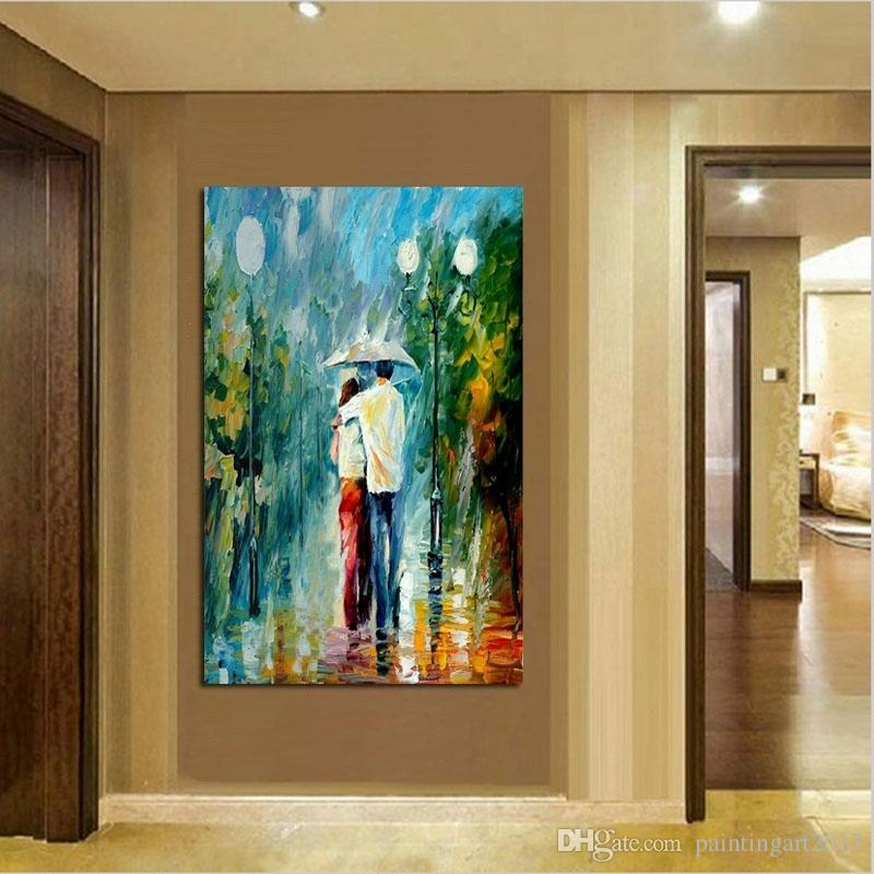 2019 Hot Sell Modern Home Wall Art Decor Hand Painted Landscape Oil Painting Streetscape Canvas Figure Picture Living Room From