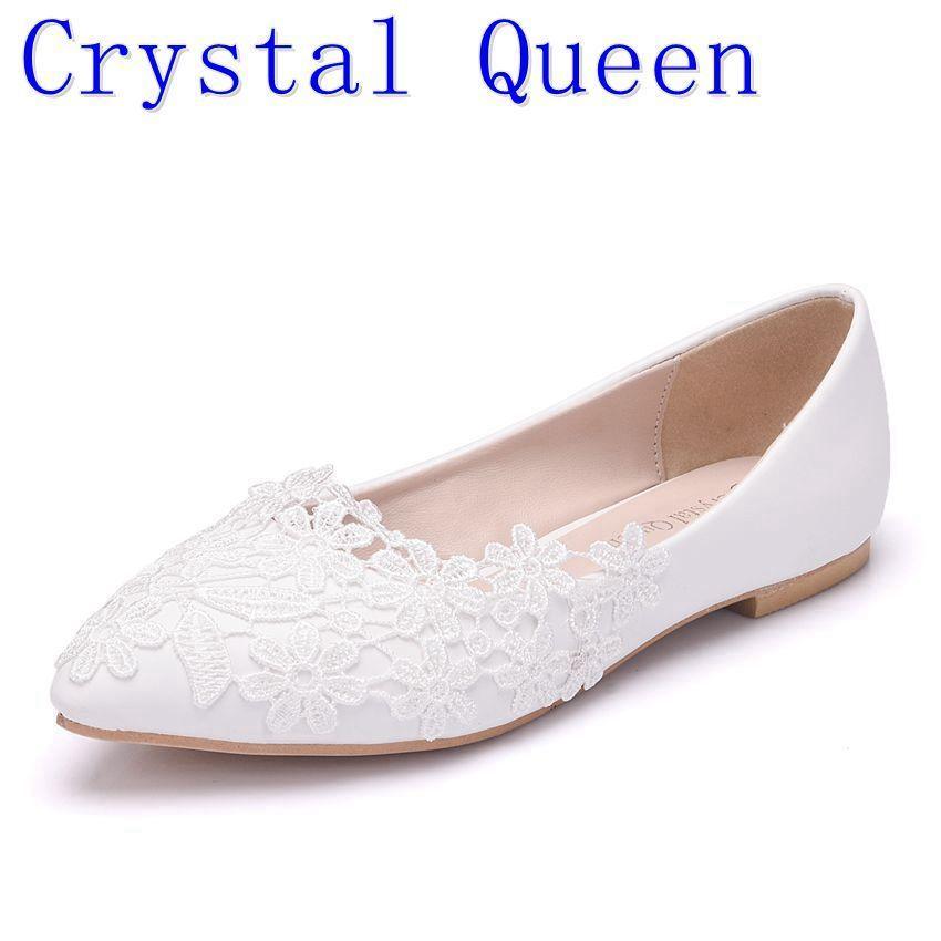 71d4bb1d6bbf Compre 2019 Casual Crystal Queen Ballet Flats Zapatos De Boda De Encaje  Blanco Talón Plano Zapatos Casuales Del Dedo Del Pie Puntiagudo Mujeres  Wedding ...
