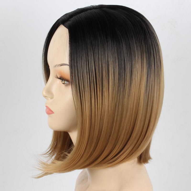 14 Women S Wig Stylish Fashion New Womens Ladies Girl Pro Salon Short  Straight BOBO Hair Cosplay Wig Color Black Mix Light Blond Best Wig Full  Front Lace ... 96aa17dcb2