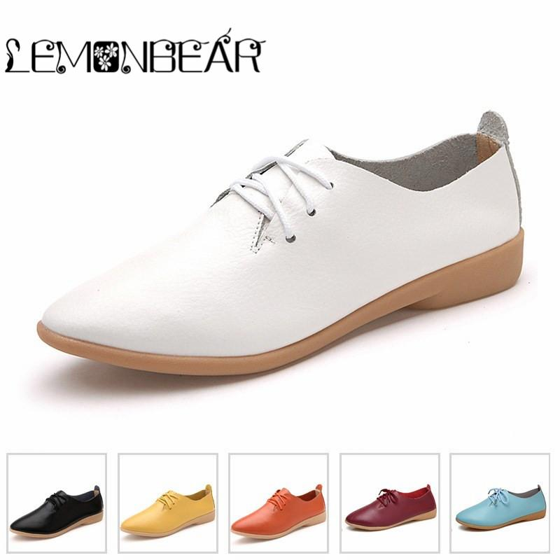 Plus Flats Größe Damens'S Casual Schuhes Genuine Leder Flats Plus Girls Leisure 9446c7
