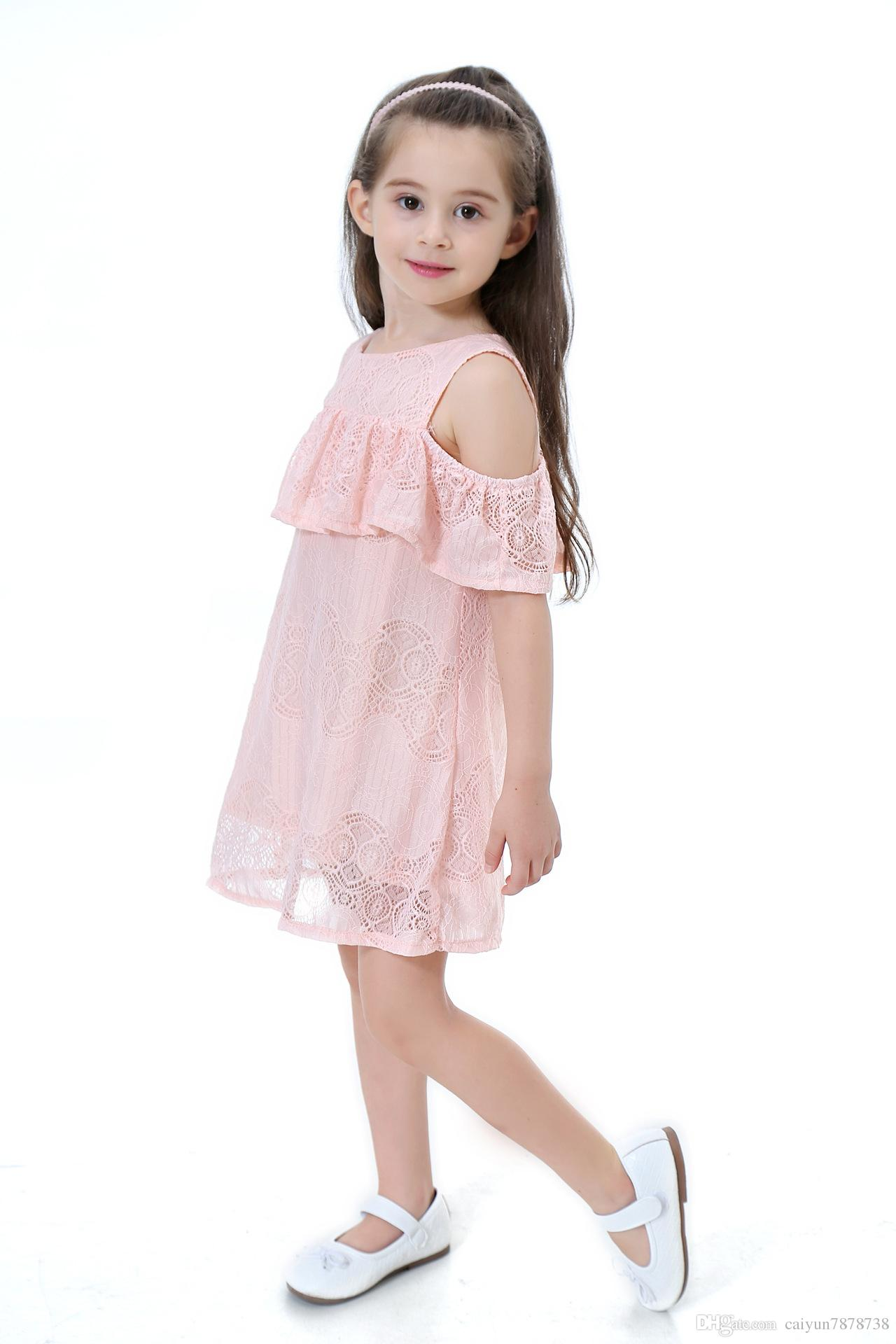 Hot sales 2018 fashion spring and summer new girls cotton lining lace breathable skirt strapless fairy princess dress 1-9 year old child