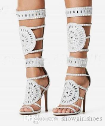 d93559fbbc Lady Black White Knee High Crystal Beaded Sandal Boots Stiletto Heels  Strappy Hollow Out Cage Boots Bling Bling Gem Long Sandals Wedges Shoes  Nude Shoes ...