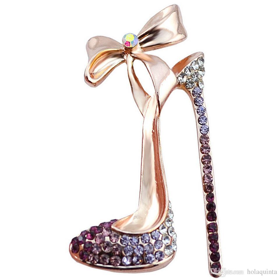 Nueva llegada zapatos de tacón alto zapatos de tacón alto broches de alta calidad de joyería fina joyería de boda y fiesta de las mujeres