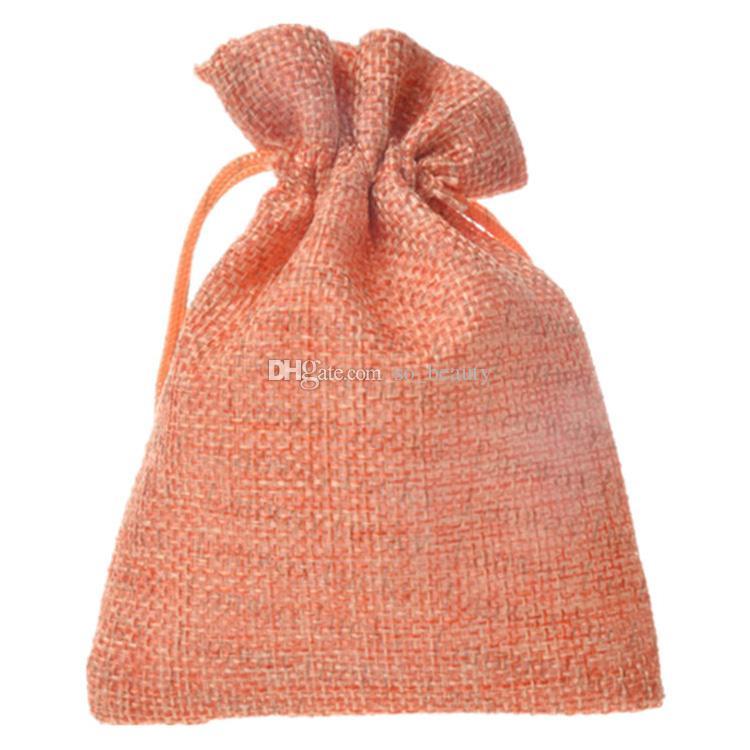 10 * 15 cm cores de linho sacos de cordão do favor do casamento do ofício diy saco de presente da festa de natal 3.9 * 5.9 polegadas 50 pçs / lote