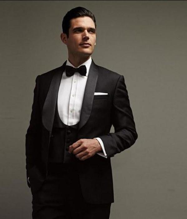 Black Wedding Tux | Custom Made Black Groom Tuxedos Shawl Lapel Groomsmen Best Man