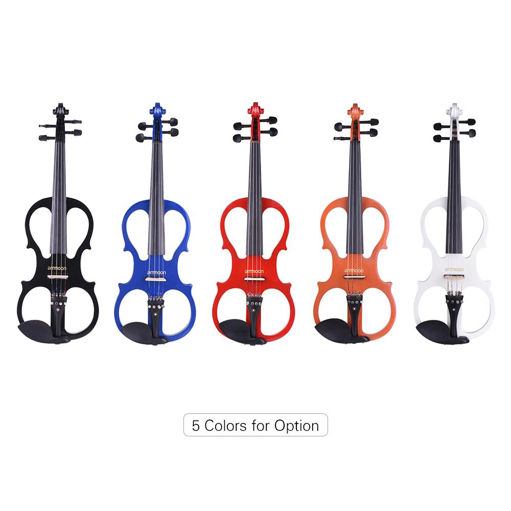 ammoon Full Size 4/4 Violin Electric Silent Violin Fiddle Ebony Fingerboard Pegs Chin Rest Tailpiece with Bow Case Tuner Rosin
