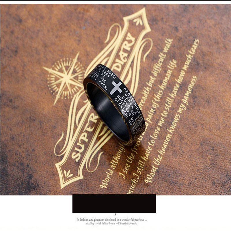 Fashion Scripture Cross Bible Text Jesus Tattoo Men Ring Rings For Women Titanium Steel Jewelry Gift