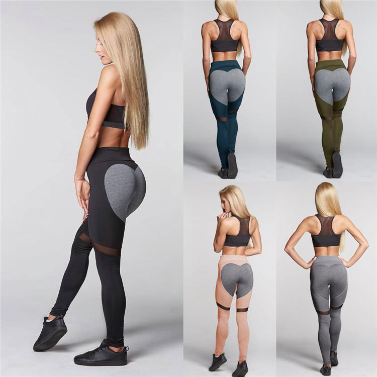 fea0fefed97fc 2019 Sports Leggings Peach Hips Heart Shape Gym Clothes Hips Push Up Leggings  Women Workout Patchwork Fitness Tights CSWY004 From Chenie_sports, ...
