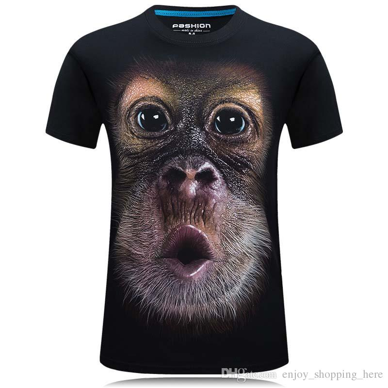 3d t shirt Plus Men's Cotton Hd 3D Digital Print Gorilla Head Male Loose casual Short Sleeves T-shirt Tees Tops Big Size Summer