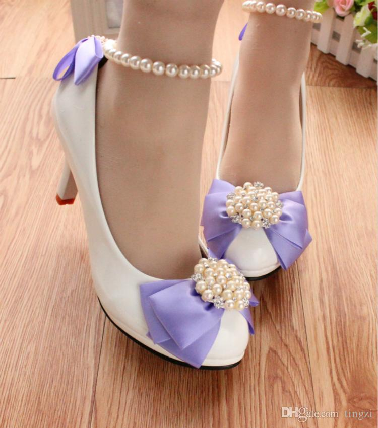 White Ribbon Bowtie Wedding Shoes Women Pumps Ankle Round Toe Beading Straps Bridal Shoes For Bridesmaid Girls 2018 New Arrivals