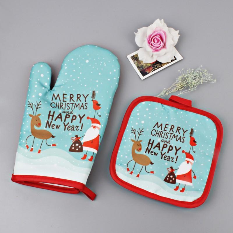 Großhandel Weihnachten Backen Anti Heiße Handschuhe Und Pad Ofen Und ...