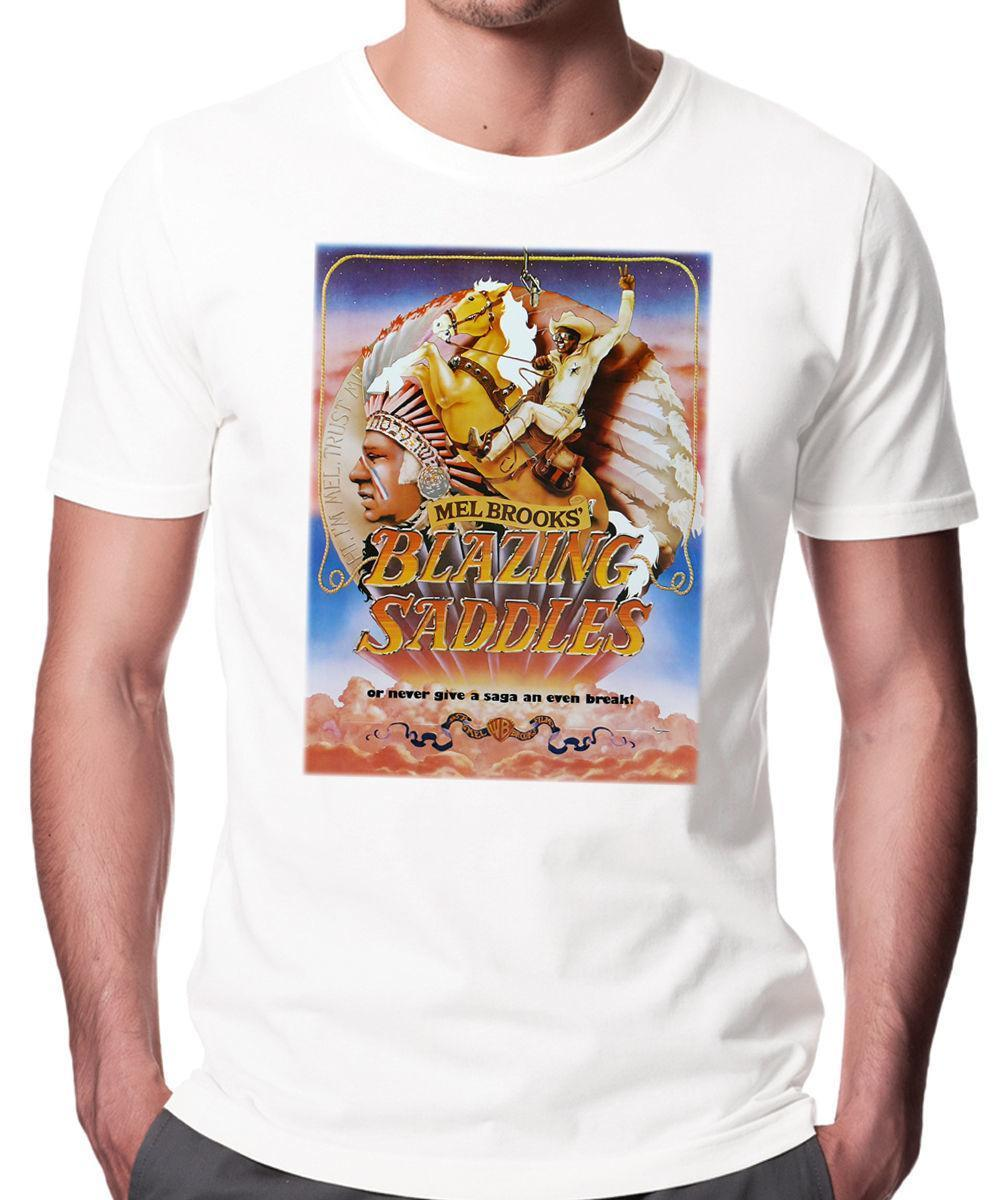 Blazing Saddles Movie Poster T-shirt branco. Comédia Cowboy
