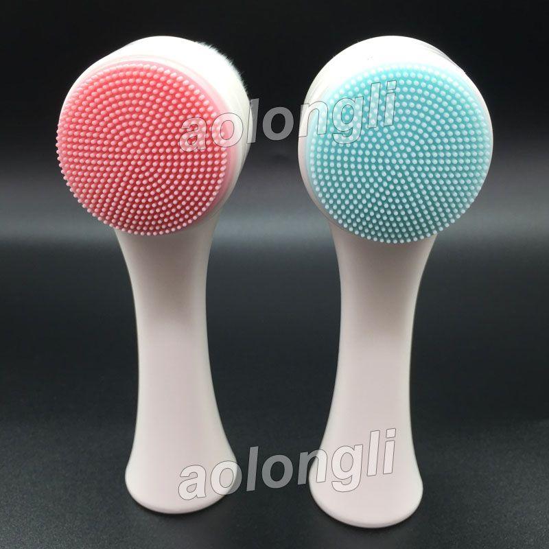 Dos caras Lavado de silicona Cepillo facial Limpiador de poros faciales Limpiador corporal Piel Masajeador belleza SPA Cuidado facial Cepillo de maquillaje