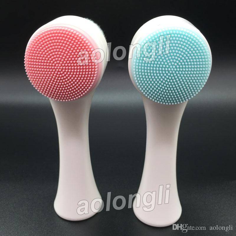Two-sided fur silicone Face Scrub Clean Facial Cleanser brush Skin Care Washing Brush Massager Pore Cleaner wash face makeup Brushes DHL