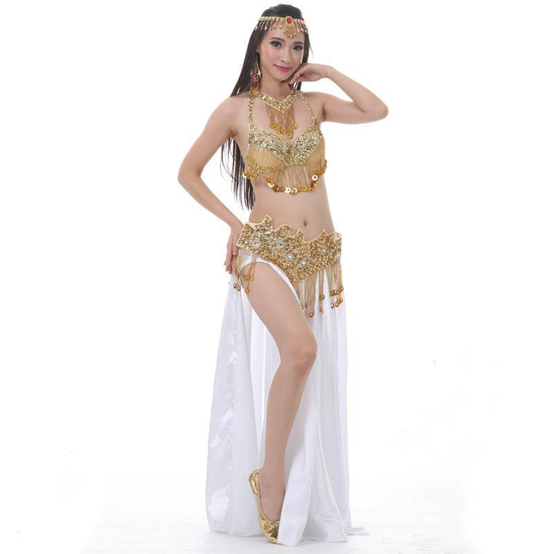 463501a57 Etapa de rendimiento Ropa de danza del vientre oriental Juego de 3 piezas  Braguita de cuentas Falda de danza del vientre Conjunto de vestuario de ...