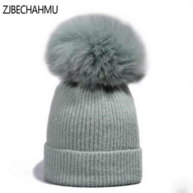 08b98a94096 Fashion Real Fox Fur Mink Pompoms Hats For Women Girl Children Winter Wool  Rabbit Warm Raccoon Skullies Beanies Hats New Brand Watch Cap Fitted Caps  From ...