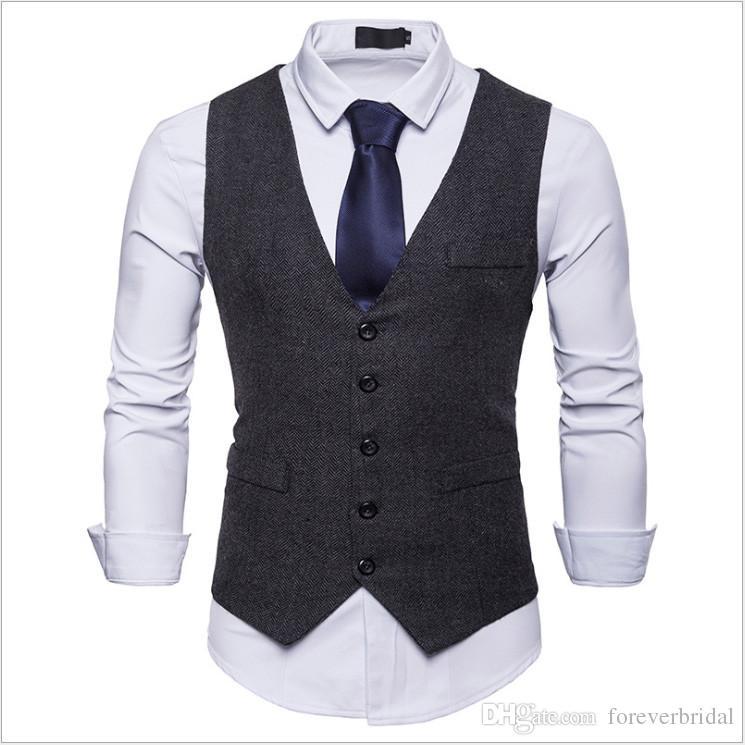 92216f69b1e Compre 2019 Vintage Mens Suit Vests Polyseter Negro Delgado Por Encargo Sin  Mangas Traje Chaqueta Hombres De La Boda Chaleco De Vestir Para Hombre  Chaleco ...