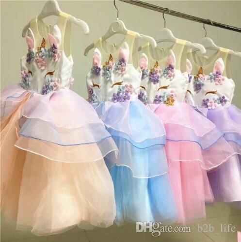63c8d119591 Acheter Fille Licorne Robe D été Broderie Fleur Bébé Filles Robes De Soirée  Enfants Robe De Mariage Petite Fille Princesse Robe KKA4399 De  18.85 Du ...