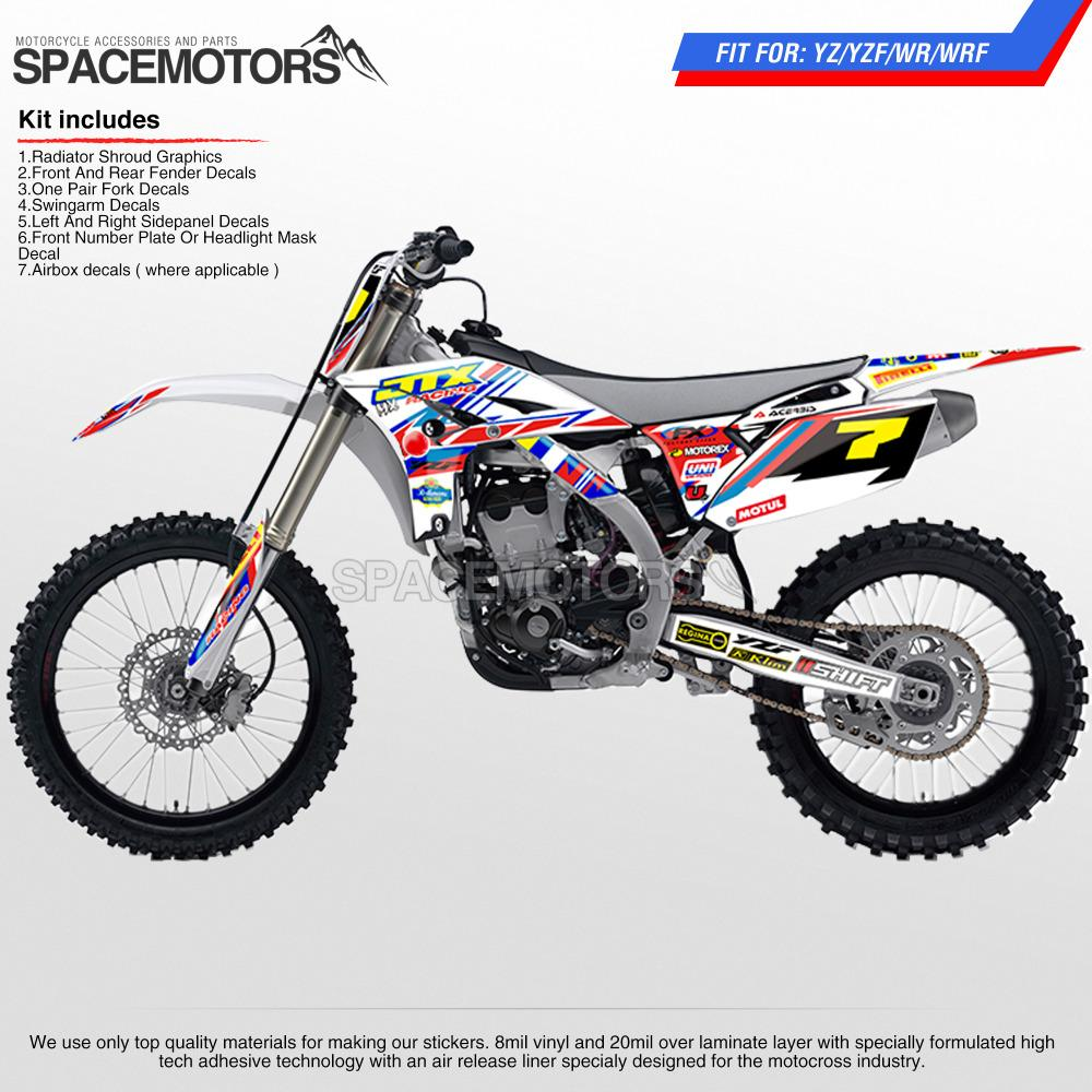 MX bacground kit for motorcycle MX dirt bike fmx supermoto YZF YZ WR WRF YZ  F X 96-15 3M sticker vinyl 125 250 426 450 cc