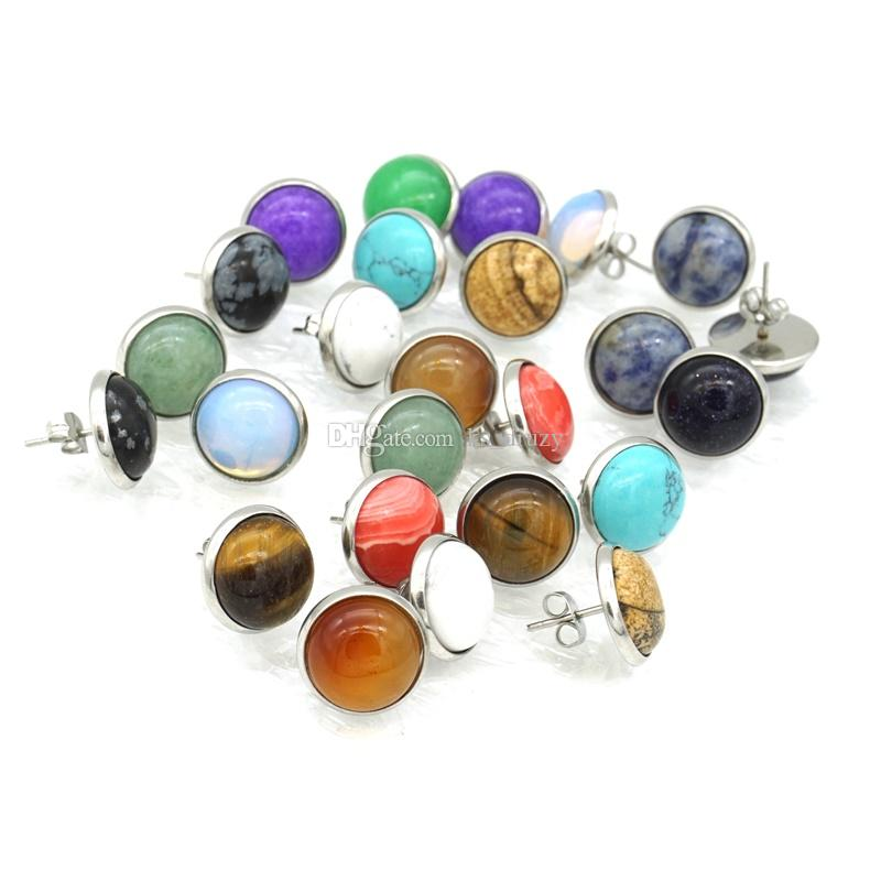 Fashion Natural Stone Stud Earrings 12mm Gem Druzy Crystal Earrings Stainless Steel Stud Jewelry Punk gift