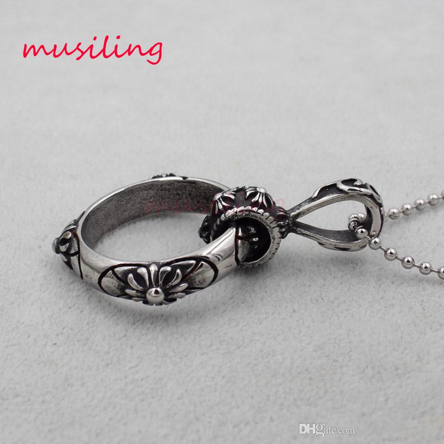 Ring Pendants Necklace Chain 316L Stainless Steel Pendulum Charms Reiki Amulet Fashion Cool Jewelry For Women Men