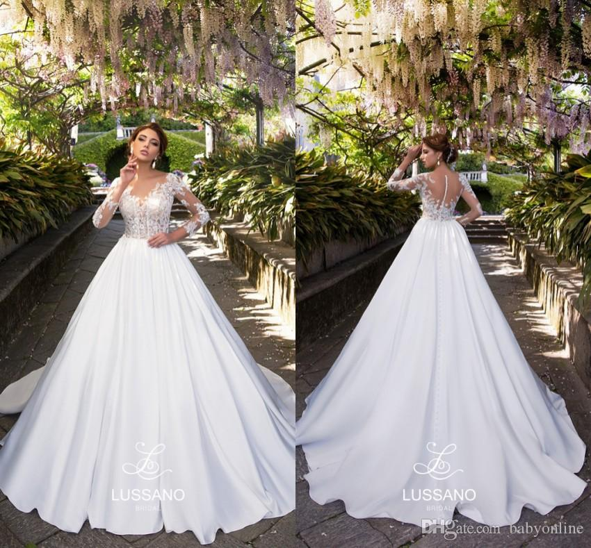 9795ac3601 ... Elegant A Line Wedding Dresses Long Sleeves Appliques Illusion Bodice Bridal  Gowns Button Covered Back Custom Made Plus Size Wedding Dress Red And White  ...