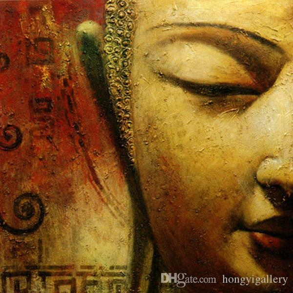 2018 Handpainted Buddha Face Wall Art On Canvas Abstract Oil ...