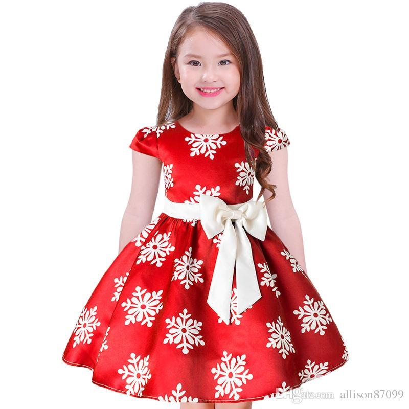 3e1a392133cbd 2018 Girl Christmas dress Snow Big Bow Noble Ball gown Red Party dresses  Puff sleeve Red Royal blue Autumn winter Wholesale 2-9years