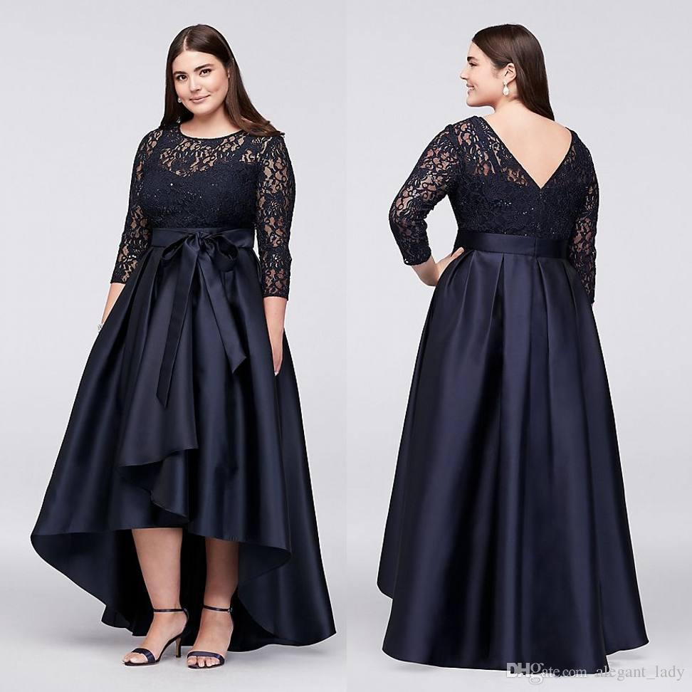 Navy blue Plus Size High Low Party Guest Prom Dresses With Half Sleeves Sheer Jewel Neck Lace Evening Wear Mother Formal Gowns
