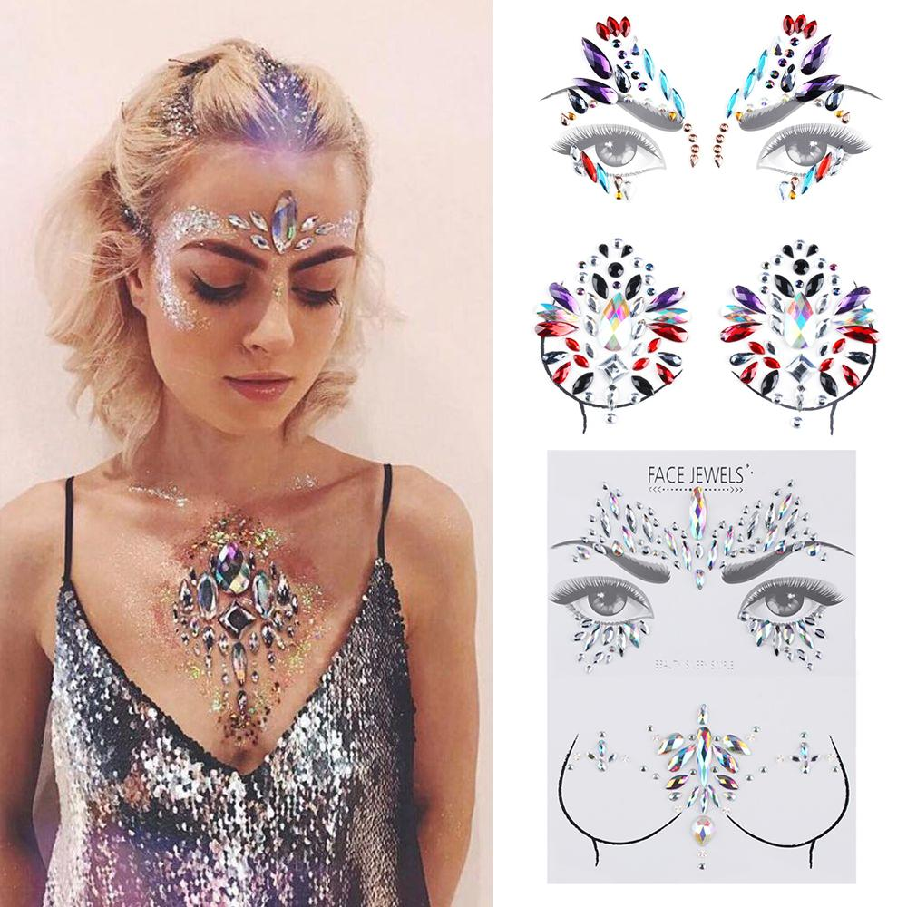 3D Acrylic Adhesive Face Tattoo Body Stickers Glitter Face Jewels Gems Body Eyes Chest Decor Beauty Make Up Temporary Tattoo Set