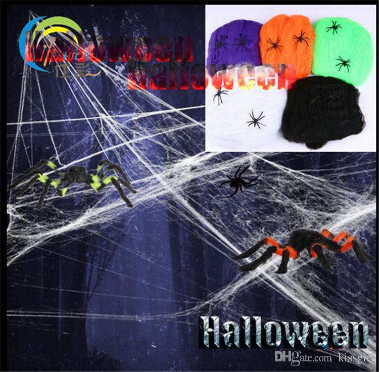2019 2018 Halloween Party Decoration Fake Spider Webs Web Bar