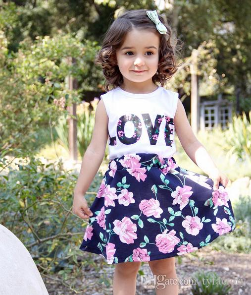 Summer baby girls vestidos suits floral layered short dresses sleeveless t-shirts vest LOVE letters print fashion lovely style hot selling