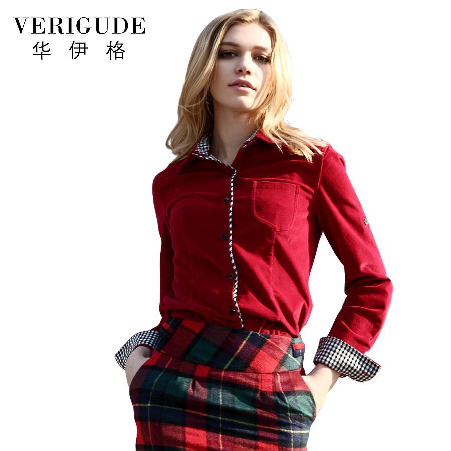 Veri Gude женщины рубашка тонкий стиль Вельвет блузка с длинным рукавом съемный воротник весна и осень Вельвет женская рубашка шить
