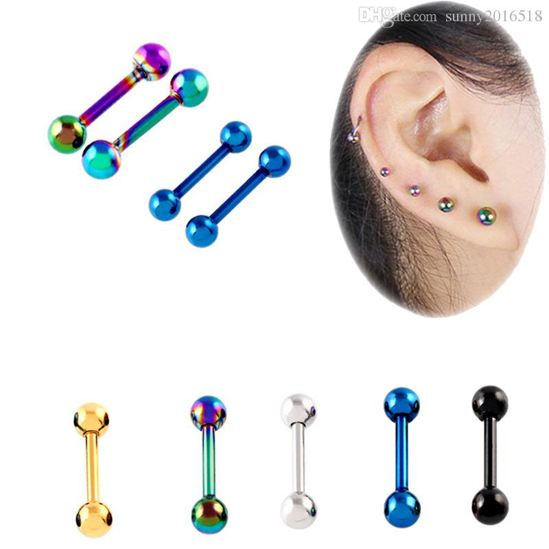 Punk Ear Cartilage Tragus Earring 16G Stainless Steel Labret Piercing Lip Bar Ear Stud Helix Barbell Body Piercing Jewelry 50pcs/lot