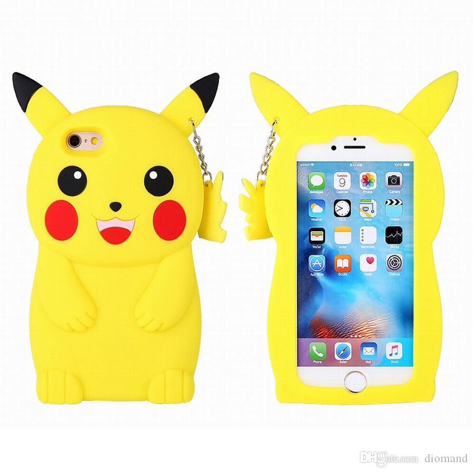 free shipping 3b39f d371d Original Silicone cartoon pikachu phone case for iphone 8 6 6S 7 plus  yellow Soft Silicon 3D Rubber Phone Cover Opp Bag