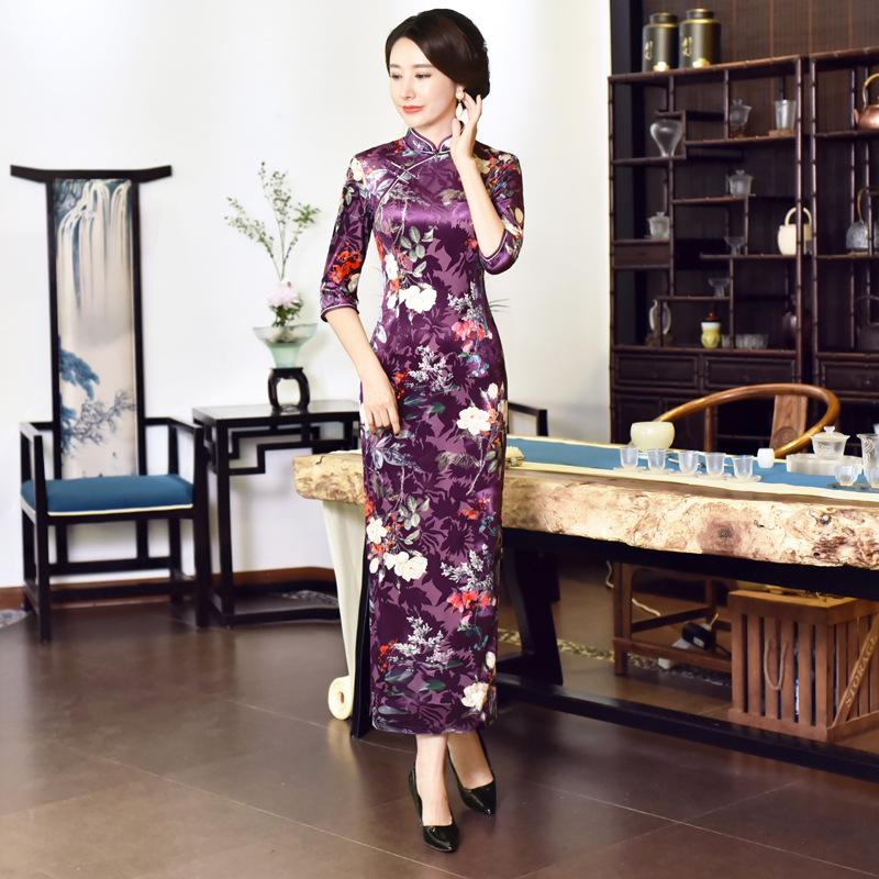 TMY3637 Dans La Manches Longue Robe Qipao Soie Chinois Robe Chinois Style Élégant Cheongsam Robes velours Robe Femmes Satin Qipao