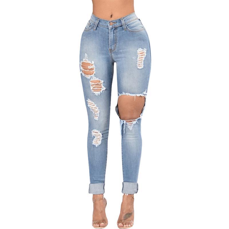 af79a2616a62 Acquista Jeans Stile Buco Strappato Jeans Donna Cool Jeans Dritto Vintage  Denim Ragazza Pantaloni Casual A Vita Alta Femminile Sottile A  24.71 Dal  Yuedanya ...