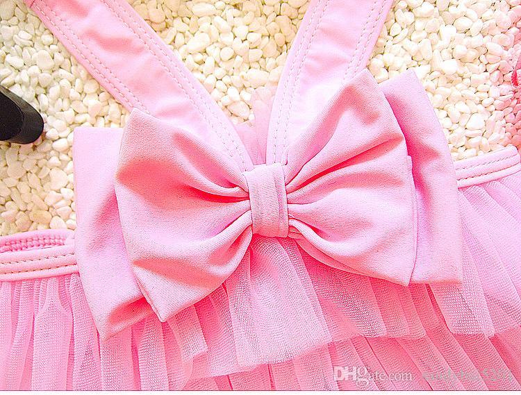 Kids Girls Swimwear Baby Girls Tulle Cake Bikini 2018 New Infant Girl Top + Skirt + Hat Swimsuits Children Beach Wear Clothes D443