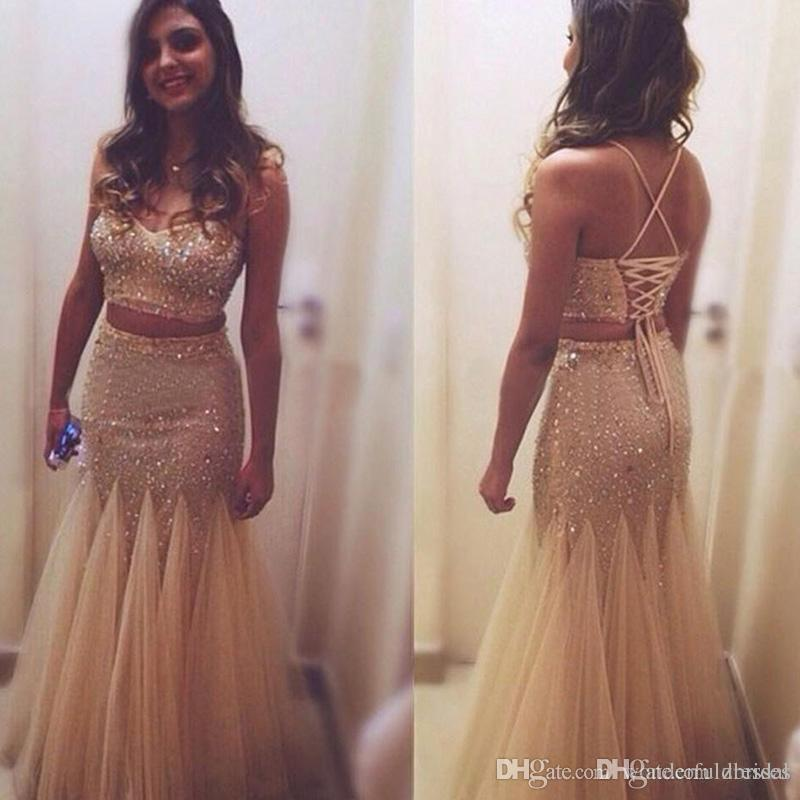 Sparkly Gold Sequin Rhinestone Gold Prom Dresses 2018 Plus Size Sexy