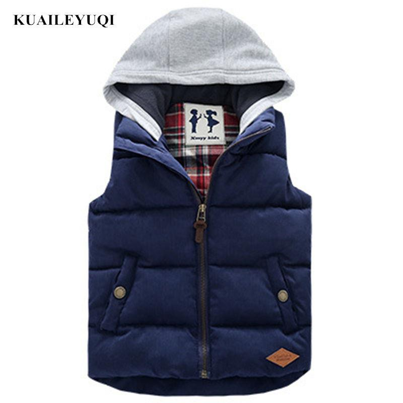 5164ed5a5 Kids Children Thickened Thermal Boys Vest Hooded Boy Baby Cap Cotton ...