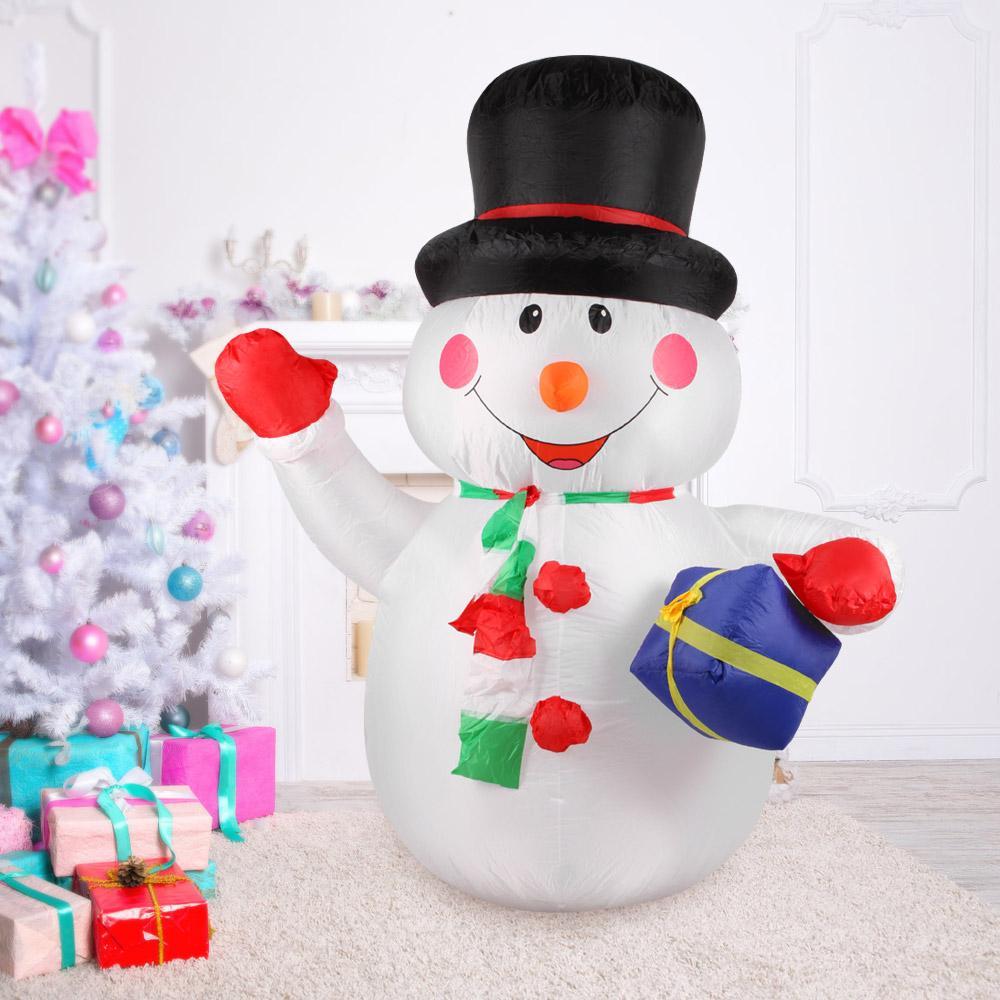 2018 1.8m Tall Inflatable Christmas Snowman Holding Gift Christmas ...