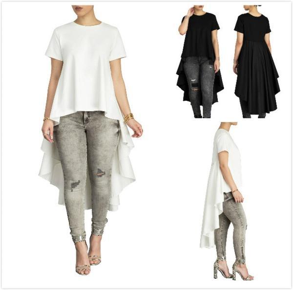 93285e2ceb5b4 Women Black White A Line T Shirt Dress Hi Low Plus Size Ruffles Dovetail Hem  Tops Summer Lady Short Sleeve Long T Shirts Canada 2019 From Thefamee
