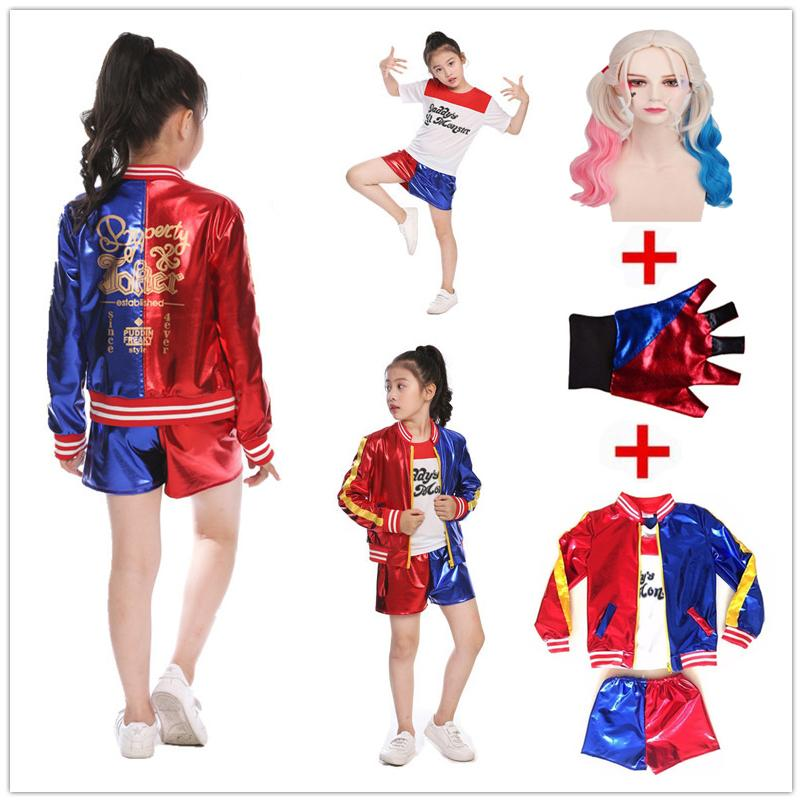 88f80de479e7 Girls Kids Movie Suicide Squad Harley Quinn Costume Cosplay JOKER Suicide  Squad Halloween Purim T Shirt Top Jacket Pants Sets Theater Costumes  Halloween ...