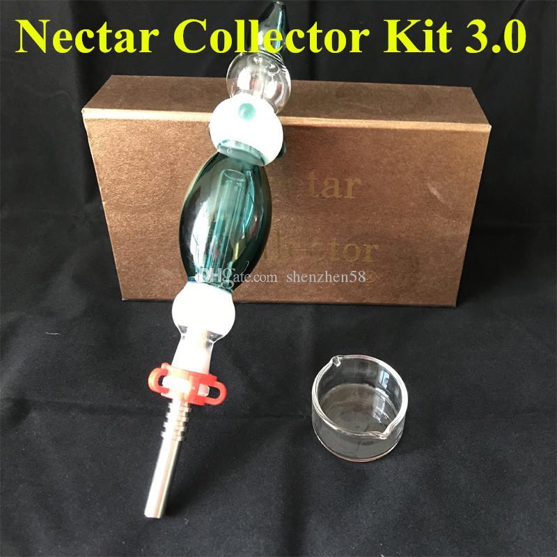 Nectar Collector 3,0 kits com Domeless Quartz prego 14mm Nectar Collector plataformas petrolíferas copo de água tubos de 3 tipos de unhas