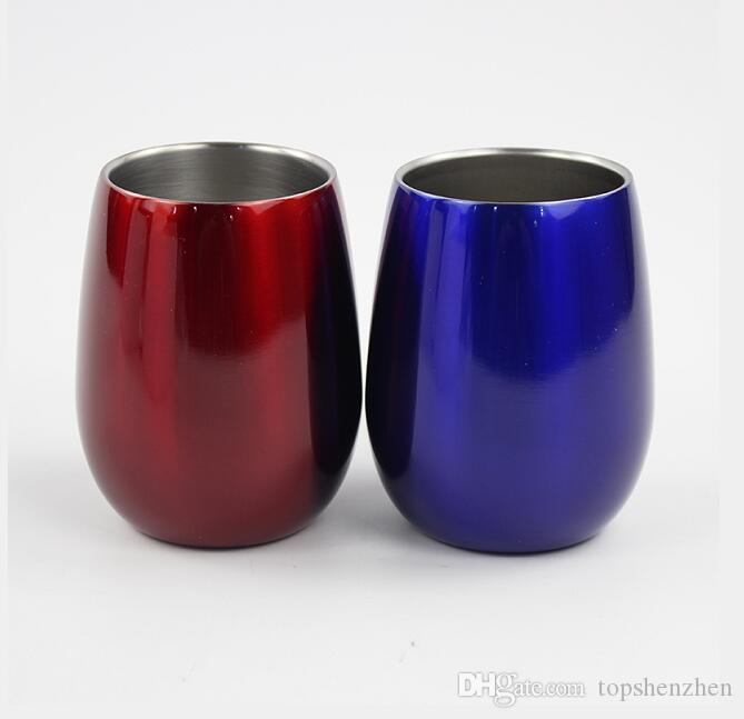 9oz egg cups Wine Glasses Kids Cups Double Wall 304 Stainless Steel Shaped Wine Glass Cups Outdoors Beer Mugs Wine Tumbler with lids