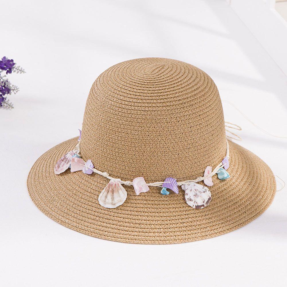 f5545f275c8ec Compre Sombrero De Paja De Las Mujeres Sombrero Del Sol De Ala Ancha Shell  Conch Decoración Sombreros Del Cubo Sombrero Ocasional De La Playa Del  Verano ...